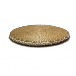 Coated round thatch pillow